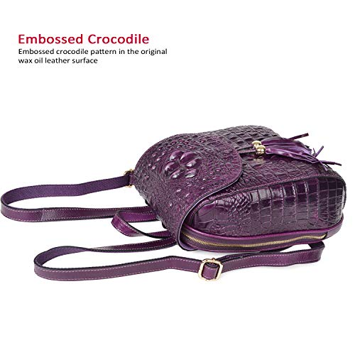 PIJUSHI Backpack Crocodile Women Violet Leather Backpack Fashion Bags Purses For Casual wOqrRw