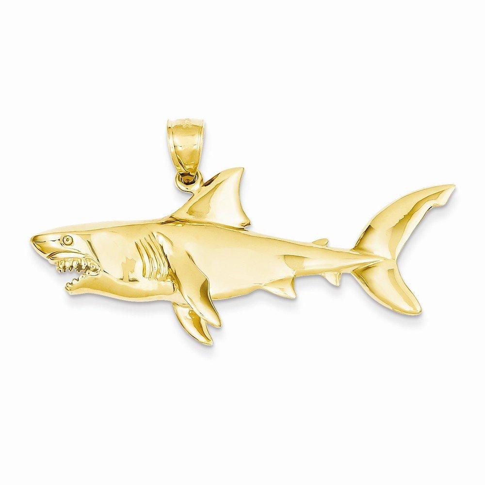 14k Yellow Gold Polished 3-Dimensional Shark Pendant