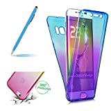 Girlyard for Samsung Galaxy A8 2018,Crystal Slim 360 Degree Shockproof Full Body Front and Back Protective Tpu Silicone Gel Case Cover for Samsung Galaxy A8 2018-Blue/Purple
