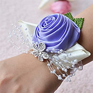 Silk Flower Arrangements MOJUN Bridal Bridesmaid Wedding Wrist Corsage Hand Flower for Wedding, Party, Prom, Pack of 2, Lavender