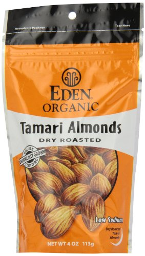 (Eden Organic Tamari Almonds, Dry Roasted, 4-Ounce Package (Pack of 3))