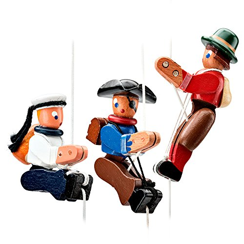 Garrett Wade Hand Carved Pull-Up Chief, Cowboy, & Climber Toys