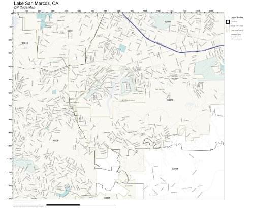 ZIP Code Wall Map of Lake San Marcos, CA ZIP Code Map Laminated -