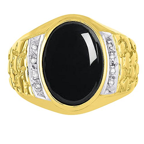 Mens Onyx & Diamond Ring 14K Yellow or14K White Gold Nugget - Ring Gold White Nugget