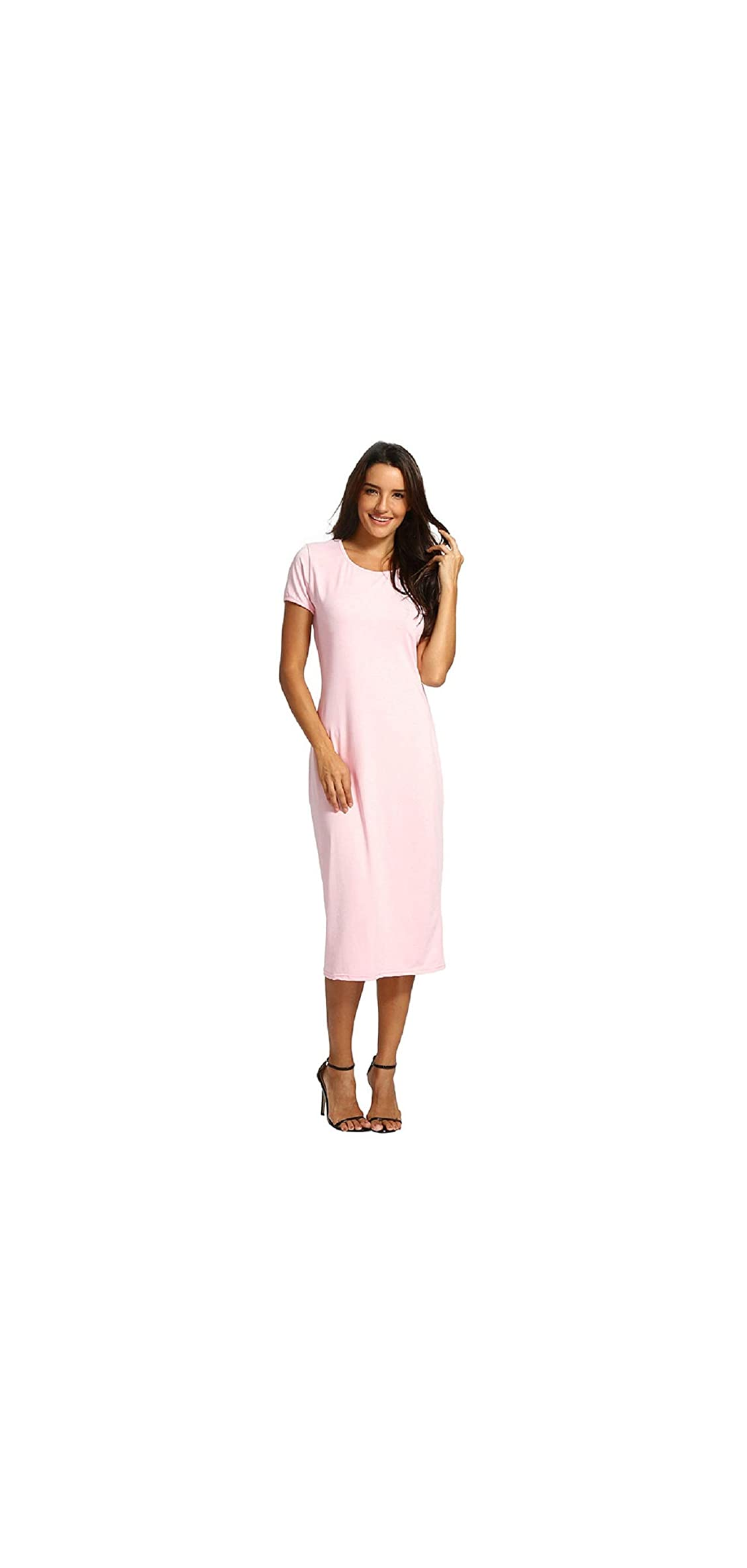 Wintialy Women Solid Short Length O-neck Mid-calf Straight Dress