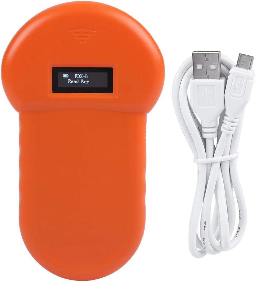 Suchinm Escáner de Microchip para Mascotas, Lector de microprocesador de Mano de Mano Universal LCD ISO ID Chip Lector de Animales Escáner de Microchip para Mascota de Mano para Perro