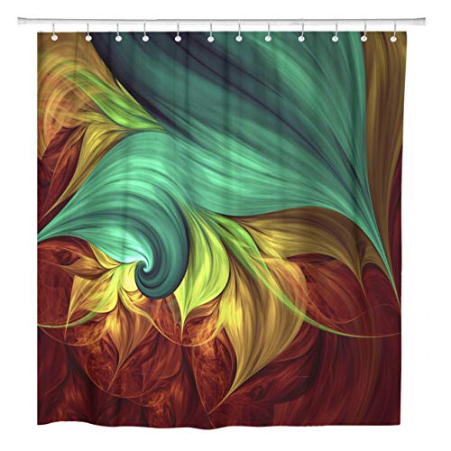 - ArtSocket Shower Curtain Abstract Computer Generated Fractal for Creative and Entertainment Mandala Home Bathroom Decor Polyester Fabric Waterproof 60 x 72 Inches Set with Hooks