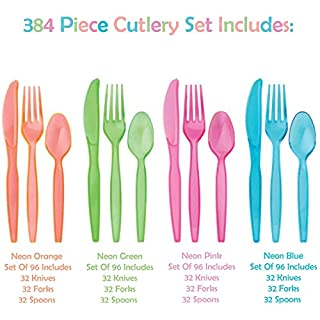Tiger Chef Neon Glow In The Dark Party Supplies - Hard Plastic Cutlery In Pink, Blue, Green and Orange - 384 Pieces