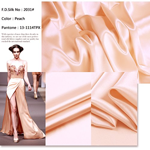 F.D.SILK 19MM 100% Mulberry Peach Silk Charmeuse Fabric By the Yard, 48 Colors, SZD1931 ()