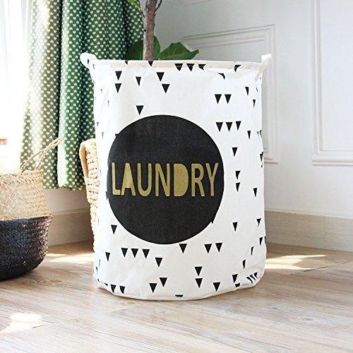 """19.7"""" Large Sized Waterproof Coating Ramie Cotton Fabric Folding Laundry Hamper Bucket Cylindric Burlap Canvas Storage Basket (Black Laundry)"""