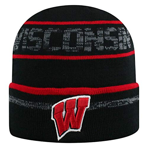 Top of the World Wisconsin Badgers NCAA Effect Cuffed Black Knit Hat