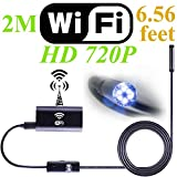 LifeJournal Wifi Wireless Endoscope Camera for Android iOS Smartphone Borescope with 2.0 Megapixel Waterproof USB HD 720P 6 LED for iPhone, iPad, Huawei, Samsung, LG etc. 8mm, 2M