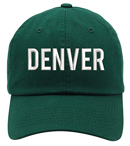TOP LEVEL APPAREL Denver Text Embroidered Low Profile Soft Crown Unisex Baseball Dad Hat Forest Green]()
