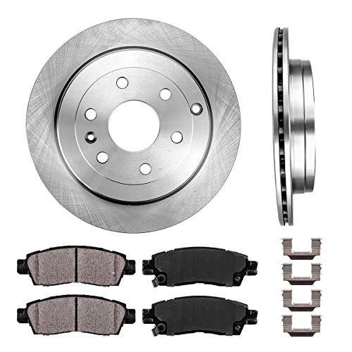 REAR 331 mm Premium OE 6 Lug [2] Brake Disc Rotors + [4] Ceramic Brake Pads + Clips