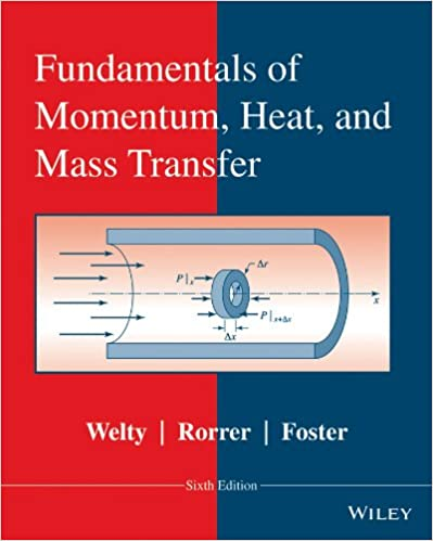 Fundamentals of momentum, heat and mass transfer 6th edition.