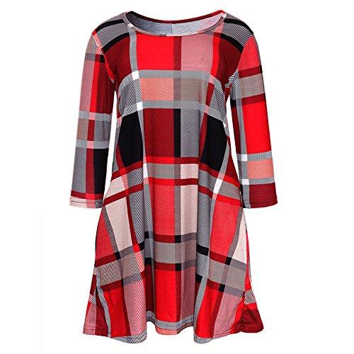 Beige 3 Corto Rojo Cuadros Mxssi Larga Manga S Blusas Cuadros Tartán Rojo Redondo Vestido Camisetas Cuello M L Mujer Gris 4 Vestido XL Azul Moda Suelto Largas nAWpU0qTT