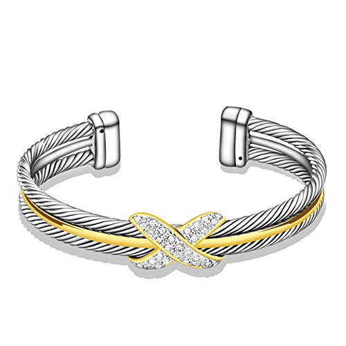 David Yurman Cuff Bracelet (UNY Fashion jewelry Brand Cable Wire Retro Antique Bangle Elegant Beautiful Valentine Mothers day Gift (TWO TONE))