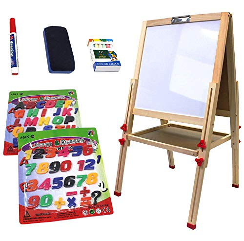 VViViD Reversible Chalkboard & Whiteboard Double-Sided Standing Kid's Art Easel Including Drawing Accessory Bundle