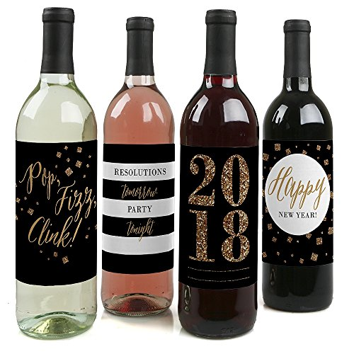 New Year's Eve - Gold - 2018 New Years Eve Party Wine Bottle Labels - Set of 4