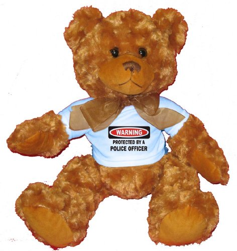 PROTECTED BY A POLICE OFFICER Plush Teddy Bear with BLUE T-Shirt (Sexy Bears)