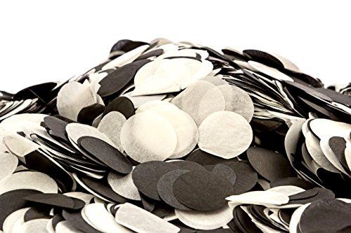 Confetti Kings Black & White Biodegradable Paper Confetti Round Circle Confetti 7 Ounce (200g, Black-White)
