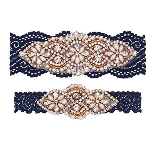 (yanstar Wedding Bridal Garter Navy Stretch Lace Bridal Garter Sets with Rose Gold Rhinestones Clear Crystal Pearl for)