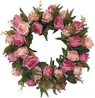 Decoraciones navideñas, Alrededor de 43 cm Guirnalda de Navidad, Corona de Rosas Artificiales, Corona de Flores de Seda, Colgante de dintel de Puerta, Decoraciones de Puertas Delantera