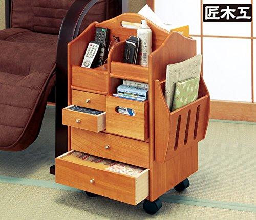 [匠木工] 天然木テーブルまわりの便利ワゴン ハイタイプ B017W7NVC2