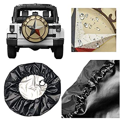 CHILL·TEK Western Texas Stars Spare Tire Cover Polyester Waterproof Dust-Proof Universal Fit for Jeep, Trailer, RV, SUV, Camper and Vehicle: Clothing