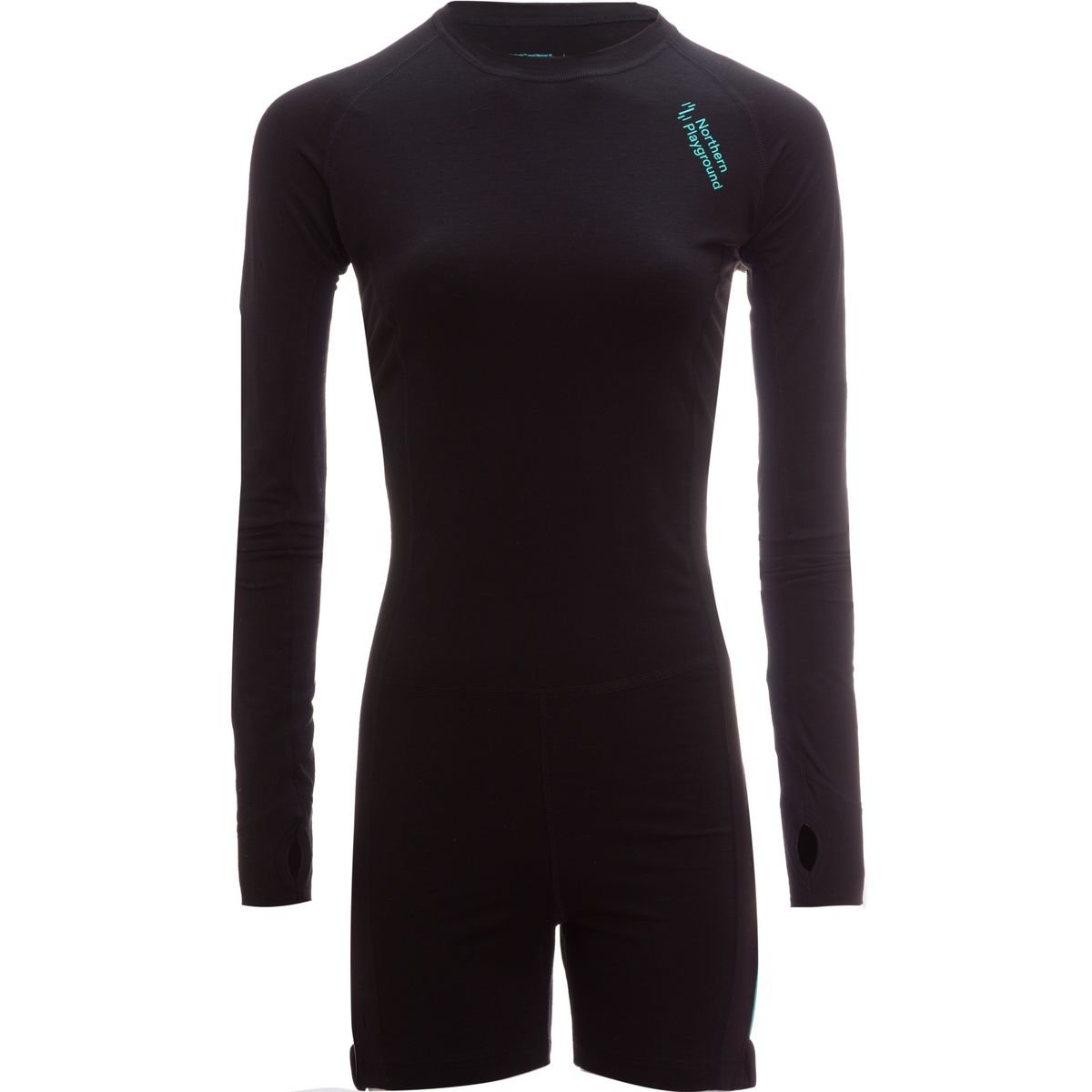 Northern Playground Zipbody Wool One-Piece Baselayer - Women's Black, L by Northern Playground