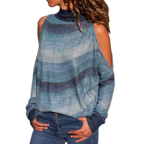 Fur Fur Turtle Turtleneck - HIRIRI Turtleneck Open Shoulder Ladies Shirt Sexy Tunic Tank Crop Tops Long Sleeve Striped Women Blouse Blue