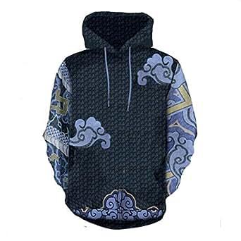 Rulercosplay Overwatch Fashion Hoodie Hanzo Dark Blue Hoodie Cosplay Costume (S)