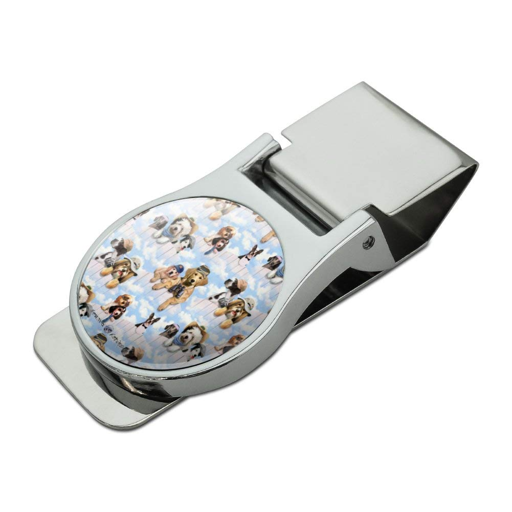 Dogs Puppies Club Pattern Satin Chrome Plated Metal Money Clip