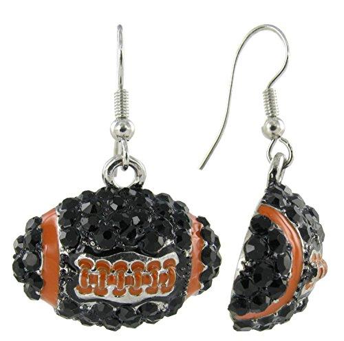 Dome Football Rhinestone Fish Hook Earrings - Black Crystals and Orange - Ncaa Crystal Basketball