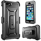 iPhone SE Case, SUPCASE Full-Body Rugged Holster Case with Built-in Screen Protector for Apple iPhone SE (2016 Release/Compatible with iPhone 5S/5), Unicorn Beetle PRO Series (Black/Black)
