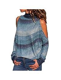 DMZing Blusa de Mujer con Cuello de Tortuga y Hombros Descubiertos, Suelta