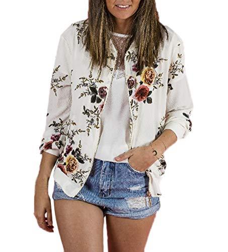 Floreali Lunga Casual Zip Moda Primavera Jacket Fräulein Autunno Bomber Fox Con Cappotto Coat Tops E Giacca Manica Donna Bianca Giacche Cime aZxqS8Tq