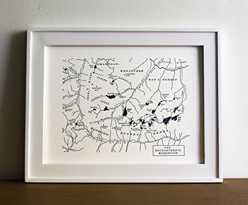 Enchantments Wilderness Area Map, Letterpress Unframed Print