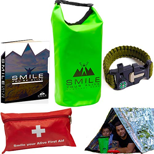 Survival Emergency KIT- Mylar 2 Person Tent + Mylar Blanket +55 Piece First AID KIT + Paracord Bracelet+DRYBAG +EBOOK +Made for Toughness- BE Ready for All Weather ON Your Adventures!