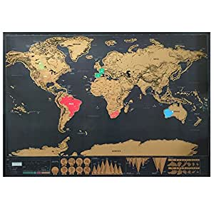 World Map for Scratching! Large Black & Gold Deluxe Edition Poster 32.5 inches X 23.4 inches
