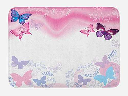 (Lunarable Princess Bath Mat, Flowers and Butterflies Curly Wavy Leaves Insect Summertime Artistic Design, Plush Bathroom Decor Mat with Non Slip Backing, 29.5 W X 17.5 W Inches, Pink White Maroon)