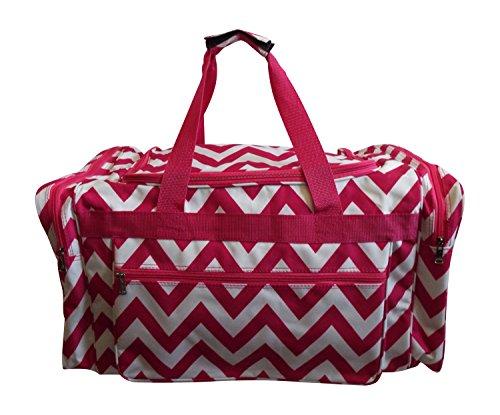 Large Duffel Sports Gym Cheer Dance Bag w/ Bonus- Free Matching Messenger Crossbody Bag (Pink/White Chevron)