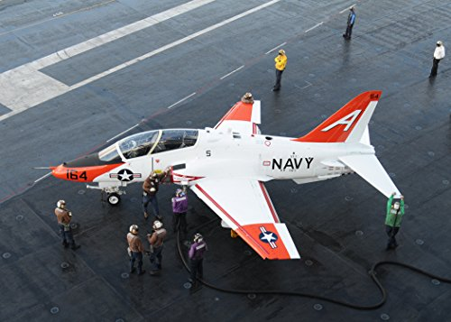 Home Comforts Canvas Print Sailors refuel a T-45 Goshawk assigned to Training Wing 1 on The Flight Deck of The Nimitz-Class ai Stretched Canvas 10 x 14 -