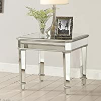 Coaster Contemporary Silver Square Mirrored End Table