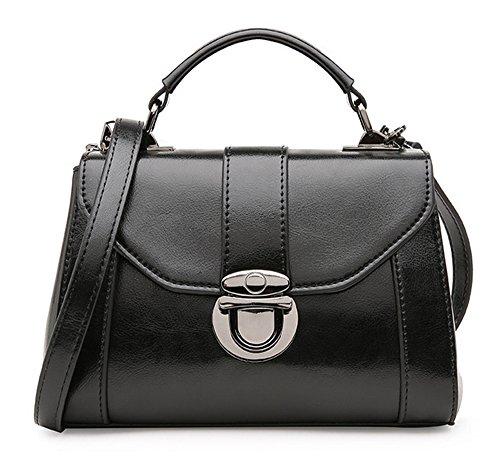 La mujer Xinmaoyuan bolsos de cuero Bolsos de hebilla nuevo señoras bolso de cuero de la versión coreana de la pequeña bolsa de cuero para dama Bolso Messenger,color caramelo Negro