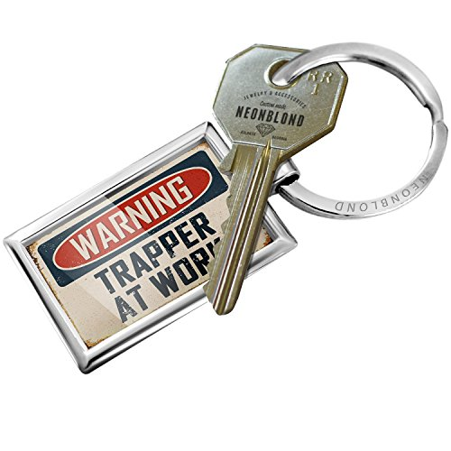 NEONBLOND Keychain Warning Trapper at Work Vintage Fun Job Sign (Trapper Signs)