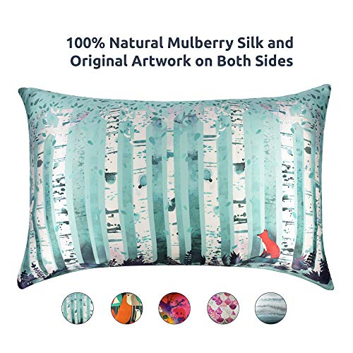 Artovida Premium 100% Natural Mulberry Silk Pillowcase for Hair and Skin, Hypoallergenic. Designer Prints from Artists Around The World - Michelle Li Bothe (Germany) - Birches (Queen)