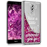 kwmobile TPU Silicone Case for Huawei Honor 6X / GR5 2017 / Mate 9 Lite - Soft Flexible Protective Cover with Flowing Liquid - Silver/Dark Pink/Transparent