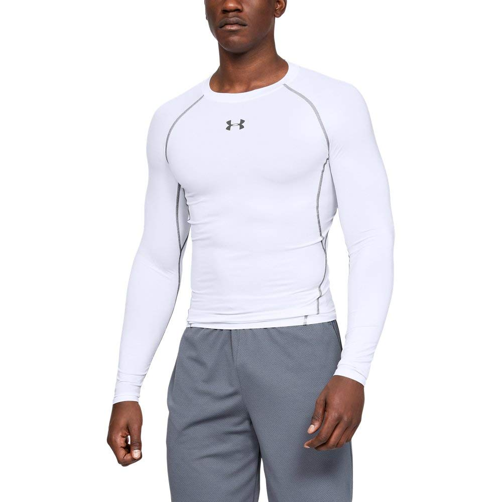 Under Armour Men's HeatGear Long Sleeve Compression Shirt, White (100)/Graphite Small