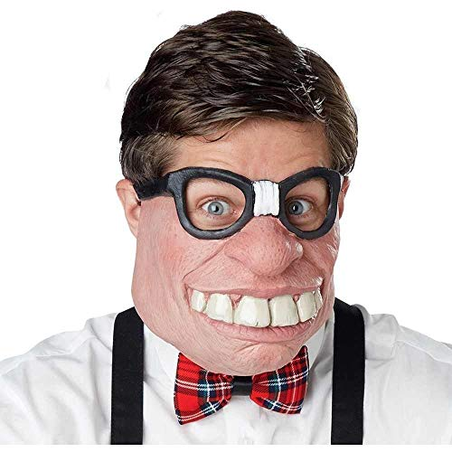 Nerd Halloween Costumes Guy (California Costumes Men's Geeked Out Mask, Black/Flesh, One)